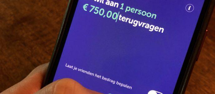 iPhone waarop iemand een Tikkie van 750 euro maakt.